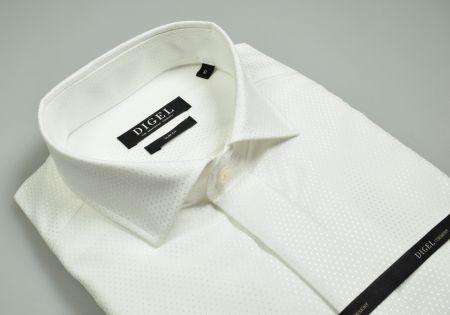 Camicia elegante ecru digel con polso doppio per gemelli slim fit