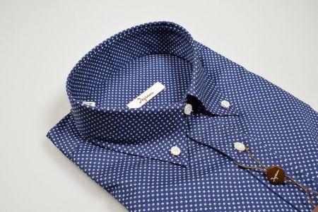 Camicia button down ingram blu puro cotone disegno piccolo stampato