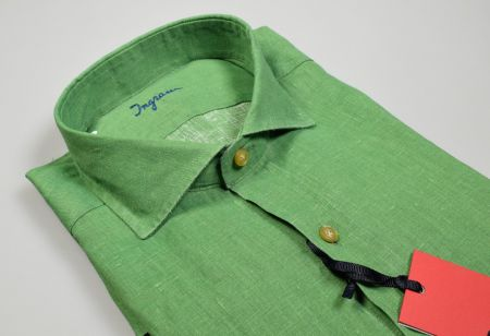 Green Shirt in pure linen dyed in Cape Ingram Modern fit neck to French