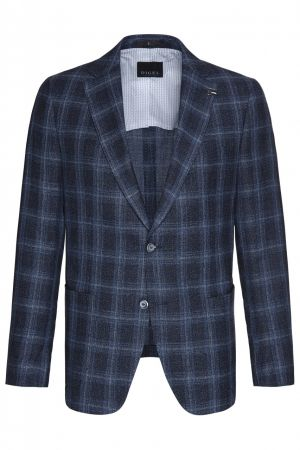 Mixed linen Jacket Digel with unlined drop four short blue square