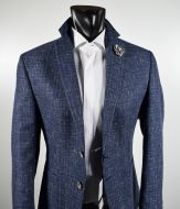 Slim fit blue melange digel jacket unlined mixed wool and silk