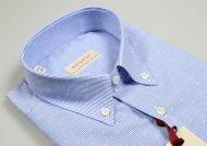 Camicia mezza manica pancaldi regular fit a righe azzurro