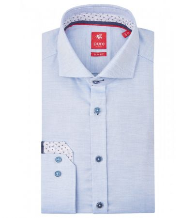Camicia Pure celeste slim ft in puro cotone con interno collo/polso in contrasto