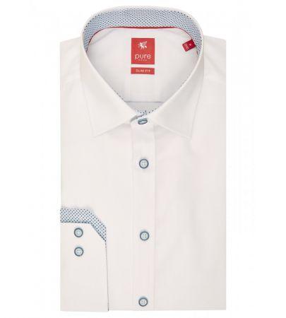 Camicia bianca slim ft pure cotone stretch con interno collo/polso in contrasto