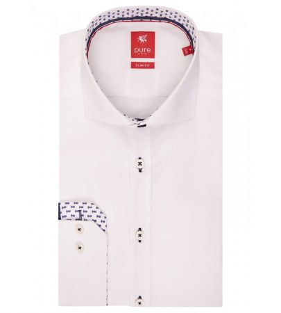 Camicia bianca pure slim fit in cotone interno collo e polso in contrasto