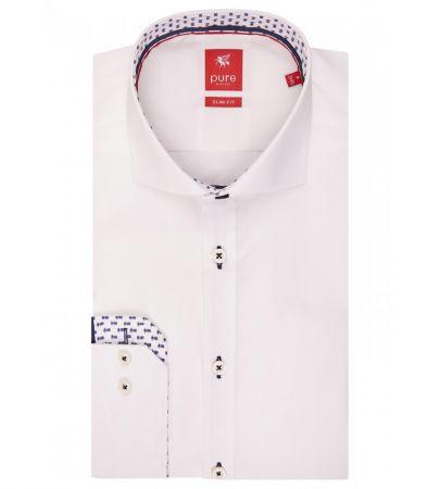 Camicia bianca pure slim fit in cotone interno collo e polso in contrasto