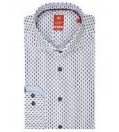 Camicia pure slim fit in puro cotone stampato blu con ananas