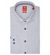 Pure slim fit shirt in blue printed cotton with pineapple
