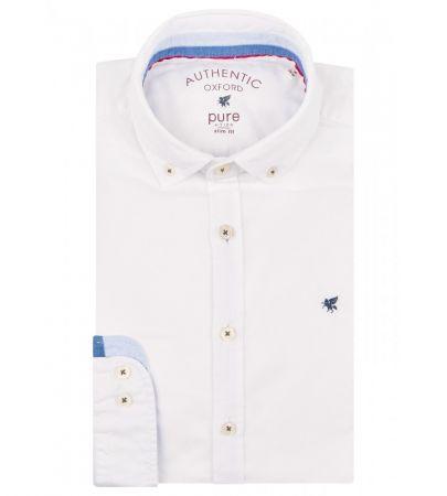 Camicia casual pure in cotone oxford autentico interno collo/polso in contrasto in jeans