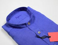 Ingram dark blue shirt in pure linen regular fit korean neck
