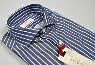 Pancaldi striped blue shirt slim fit neck french pure cotton