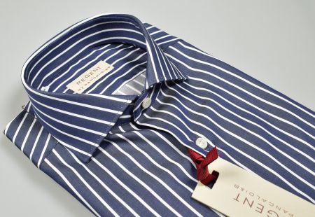 Camicia blu a righe pancaldi slim fit collo francese puro cotone