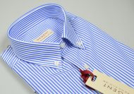 Light blue striped pan-blue shirt regular fit neck button down