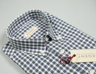 Camicia pancaldi regular fit collo button down a quadretti blu e verde