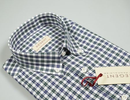 Shirt regular fit neck button down blue and green checked