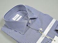 Camicia slim fit in cotone doppio ritorto ingram a righe azzurre