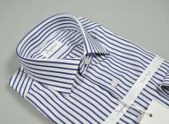 Blue striped double-striped cotton slim fit ingram shirt