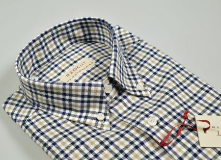 Camicia regular fit pancaldi collo button down a quadretti blu beige e verde