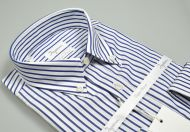 Shirt ingram button down cotton double twisted blue stripes