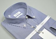 Shirt ingram neck button down in double twisted cotton with blue stripes