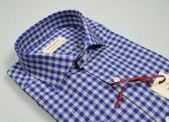 Camicia pancaldi slim fit puro cotone a quadri azzurro e grigio