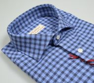 Camicia pancaldi slim fit cotone caldo flanella a quadri azzurro e blu