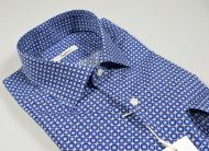 Blue slim fit blue ingram shirt printed in pure cotton