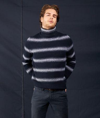 Striped patterned ocean star turtleneck sweater