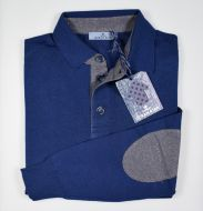 Classic polo with patches ocean star wool combed made in italy
