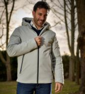 Straight-bottom sports jacket with adimari hood