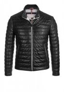 Black quilted leather milestone jacket with one hundred grams padding