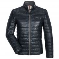 Blue quilted leather milestone jacket with one hundred grams padding