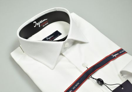Shirt ingram white regular fit neck half french