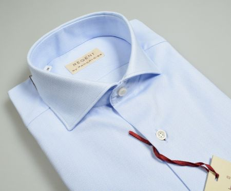 Camicia celeste chiaro slim fit pancaldi collo alla francese in cotone oxford
