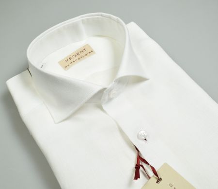 White white pancaldi shirt slim fit in pure linen neck to french