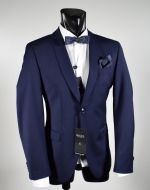Blue digel slim fit neck to sunfall effect tuxedo stretch wool
