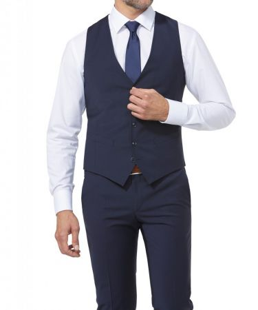 Panciotto blu digel slim fit lana stretch