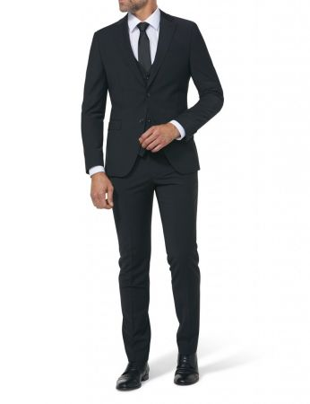 Elegant black digel preference slim fit dress in stretch wool