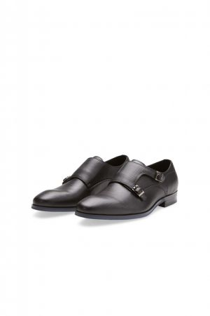 Elegant black digel shoe with double buckle