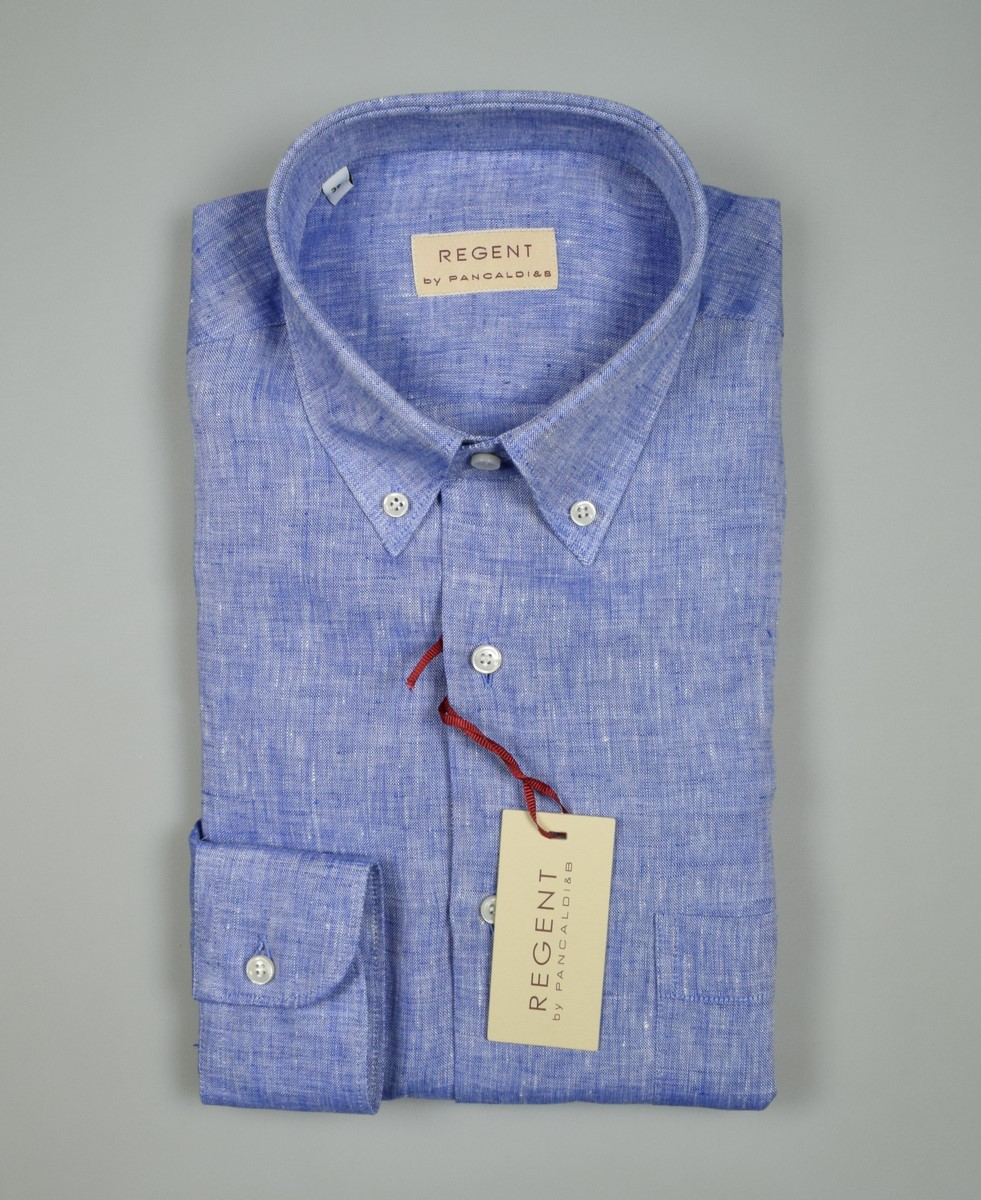 Camicia button down in puro lino verde Regular fit