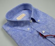 Camicia in puro lino azzurra pancaldi collo button down regular fit