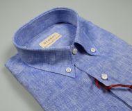 Shirt in pure blue linen pancaldi neck button down regular fit