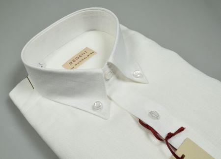 Camicia regular fit pancaldi in puro lino bianca collo button down