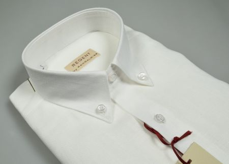 Regular fit pancaldi shirt in pure white linen neck button down