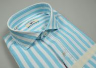 French teal striped slim fit ingram shirt