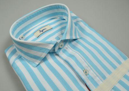 Camicia slim fit ingram a righe verde acqua collo alla francese