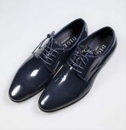 Elegant blue digel ceremony shoe in real painted leather