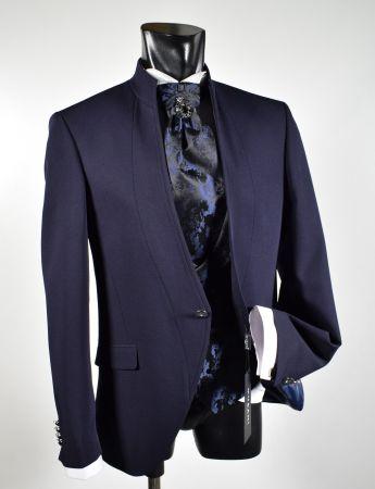Abito blu musani cerimonia slim fit con panciotto e cravatta