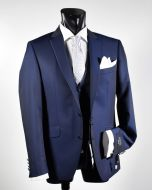 Elegant blue dress slim fit digel ceremony complete with waistcoat