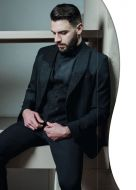 Smoking nero slim fit musani con petto a lancia brillantinato